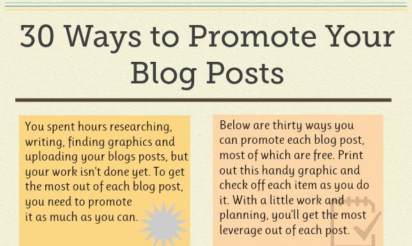 Top 30 Ways to Promote Your Next Blog Post