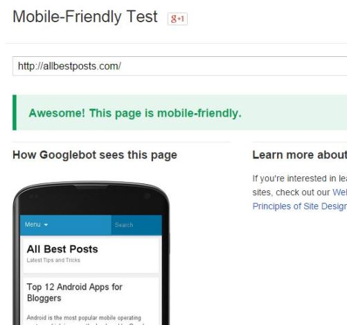 Mobile Friendly Test Tool